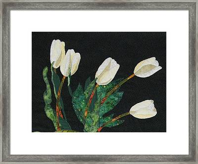 Five White Tulips  Framed Print