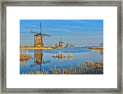 Five Windmills At Kinderdijk Framed Print