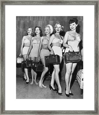Five Women Pose With Bags Framed Print by Underwood Archives