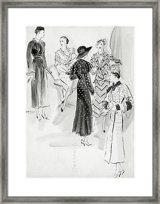 Five Women Wearing Chanel Framed Print by Rene Bouet-Willaumez