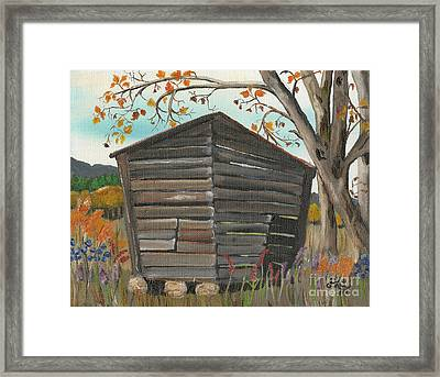 Framed Print featuring the painting Autumn - Shack - Woodshed by Jan Dappen