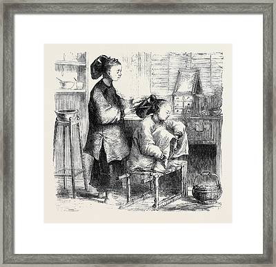 Fixing Hair A La Teapot China Framed Print