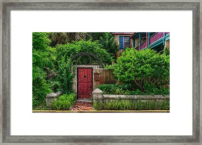 The Red Garden Gate Framed Print
