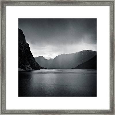 Fjord Rain Framed Print by Dave Bowman