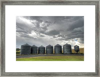 Flack Silos Framed Print by Latah Trail Foundation