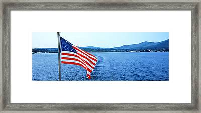 Flag And View From The Minne Ha Ha Framed Print by Panoramic Images