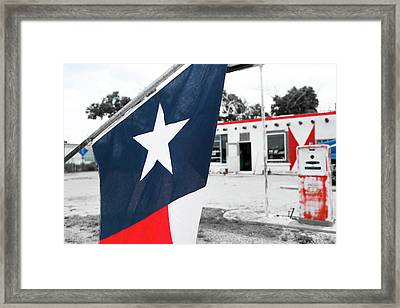 Flag At An Antique Gas Station, Adrian Framed Print by Julien Mcroberts