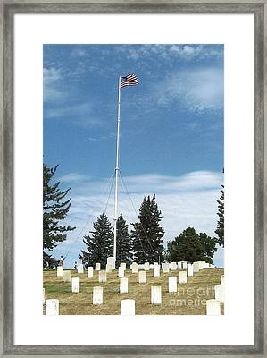 Flag At Custer National Cemetery Framed Print by Charles Robinson