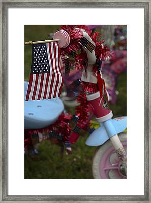 Framed Print featuring the photograph Flag Bike by Patrice Zinck