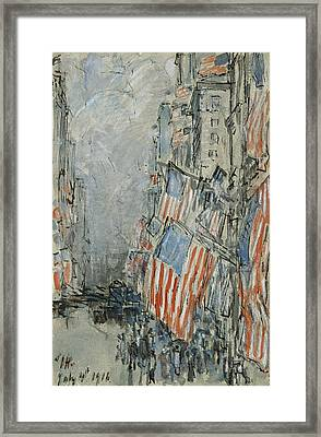 Flag Day. Fifth Avenue. July 4th 1916 Framed Print by Childe Hassam