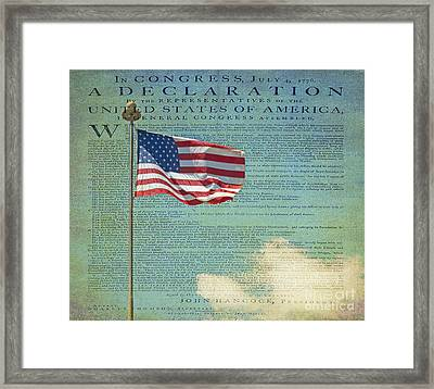 Flag - Declaration Of Independence -  Luther Fine Art Framed Print by Luther Fine Art