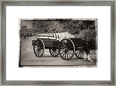 Flag Draped Casket At Arlington With Border Framed Print