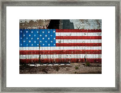 Flag Fence Framed Print