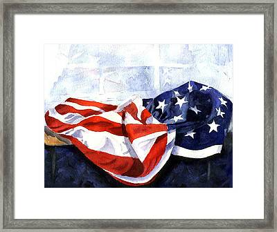 Flag In  The Window Framed Print by Suzy Pal Powell