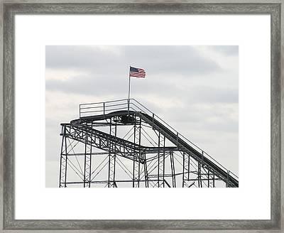 Flag Mounted On Seaside Heights Roller Coaster Framed Print by Melinda Saminski
