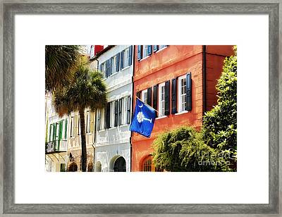 Flag Of Charleston With Palmetto And Crescent Moon Framed Print by George Oze