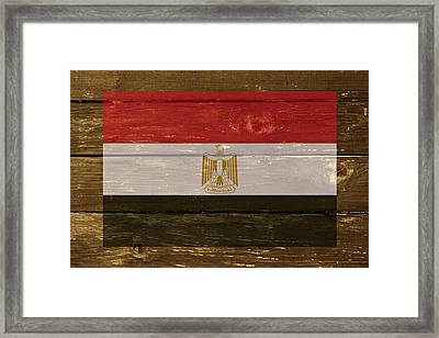 Egypt National Flag On Wood Framed Print by Movie Poster Prints