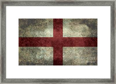 Flag Of England St Georges Cross Vintage Version To Scale Framed Print