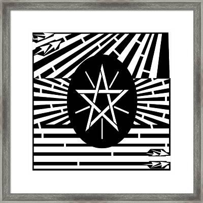 Flag Of Ethiopia Maze  Framed Print by Yonatan Frimer Maze Artist