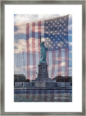 Liberty And Flag Of Honor Framed Print