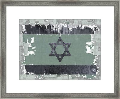 Flag Of Israel Abstract Framed Print by David G Paul