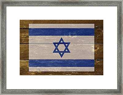 Israel National Flag On Wood Framed Print by Movie Poster Prints
