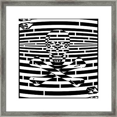 Flag Of Jolly Roger Maze Framed Print by Yonatan Frimer Maze Artist
