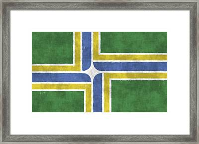 Flag Of Portland Framed Print by World Art Prints And Designs