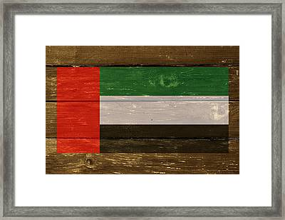 United Arab Emirates Flag On Wood Framed Print by Movie Poster Prints