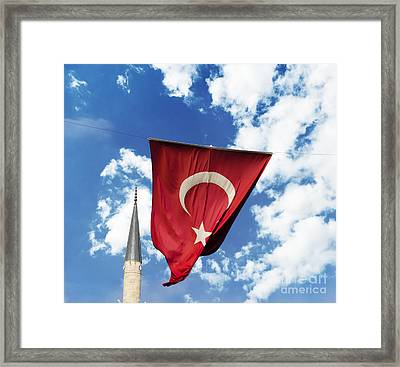 Flag Of Turkey Framed Print by Jelena Jovanovic
