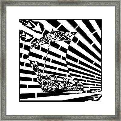 Flag Of Tynwald Maze Aka Isle Of Man Parliament Framed Print by Yonatan Frimer Maze Artist