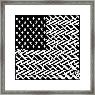 Flag Of Usa Maze Framed Print by Yonatan Frimer Maze Artist
