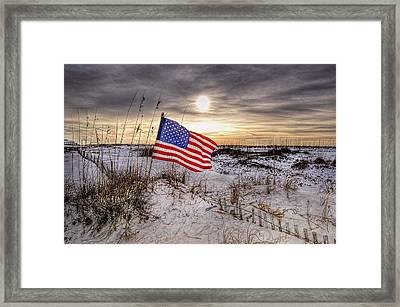 Flag On The Beach Framed Print