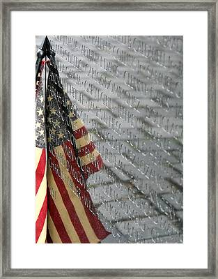 Flag On The Wall Framed Print