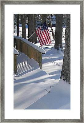 Framed Print featuring the photograph Flag Over Morning Snow by Pamela Hyde Wilson