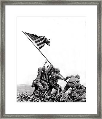 Flag Raising At Iwo Jima Framed Print by Underwood Archives