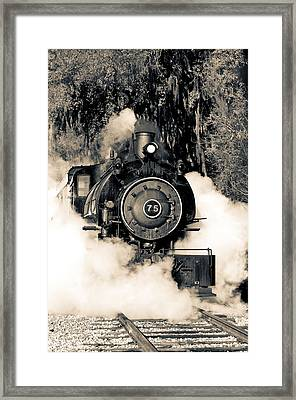 Flagg Coal Steam Engine Blow Out Framed Print by Michael White