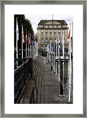 Flagpoles In Hamburg Framed Print
