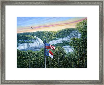 Flags At Sunset Framed Print