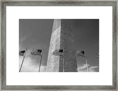 Flags At Washington Monument  Framed Print