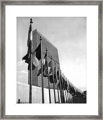 Flags Flying At United Nations Framed Print by Underwood Archives
