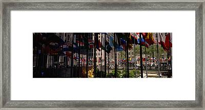 Flags In A Row, Rockefeller Plaza Framed Print by Panoramic Images
