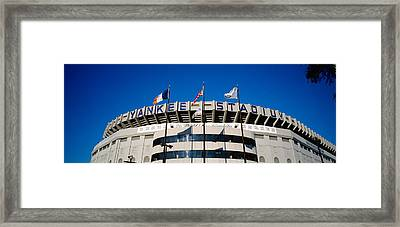 Flags In Front Of A Stadium, Yankee Framed Print