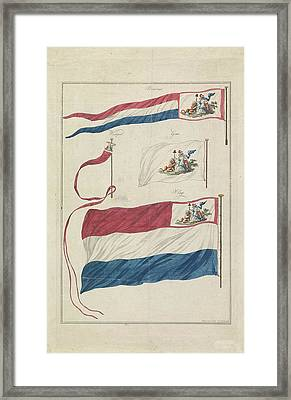 Flags Of The Navy Of The Batavian Republic Framed Print by Hendrik Roosing