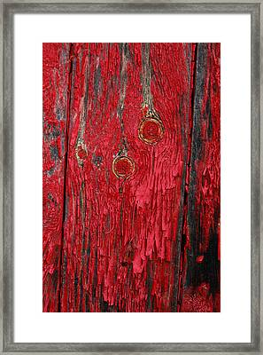 Flaking Red Paint On Old Shed. Framed Print