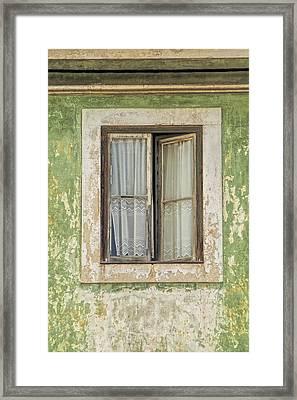 Flaking Wood Window Framed Print