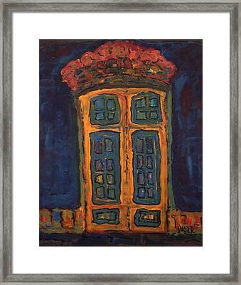 Flamboyant Door Framed Print by Oscar Penalber