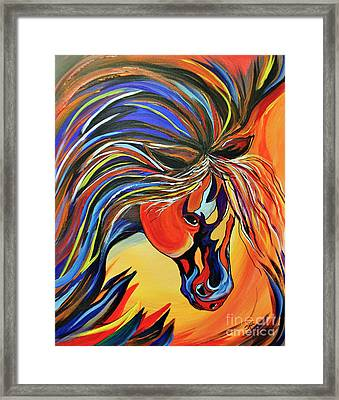 Flame Bold And Colorful War Horse Framed Print by Janice Rae Pariza