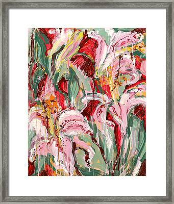 Flame Lilies Framed Print by Carole Goldman