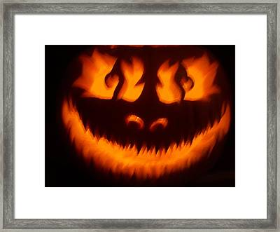 Framed Print featuring the sculpture Flame Pumpkin by Shawn Dall